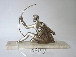 Voltas Sculpture Bronze Argenté Art Déco 1930 Éphèbe Chasse