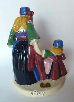 Yvonne Jean-Haffen fillettes Plougastel Henriot Quimper sculpture Art Déco 1930