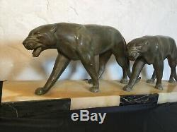 #yd# Sculpture couple pantheres lionnes epoque art deco 1930 dlg max le verrier
